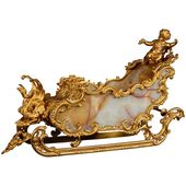 Unusual French Sled Chariot Bronze and Onyx Centerpiece with Cupid and Swan