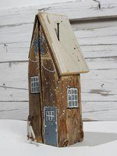 Handgemaltes Dekorationsholzkunstweinlese-Holzschildweinlese-Shabby Chic des Weihnachtsdekorweihnachtshauses   – Holz