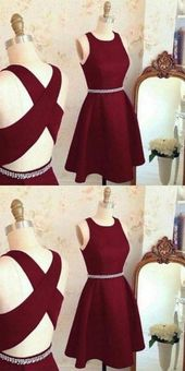 Lovely Cute Prom Dress, Short Prom Dress, Burgundy Homecoming Dress, Prom Party Dress 0171
