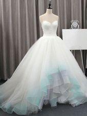 Farbige Brautkleider, High Low Brautkleid, Tüll Brautkleid, einzigartige