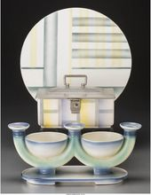 Two Villeroy Boch Spritzdekor Table Items With Associated Tray Circa 1930marks Mercury Villeroy Boch Mettlach Made In Saar Basin12 Inches Diam Keramik