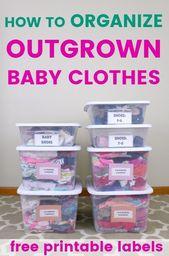 Comment organiser et stocker les vêtements de bébé périmés – le conteneur de stockage imprimable …   – Ideas for kids
