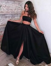 Two Piece Black Split Side Long Prom Dresses Under 100 from dressydances