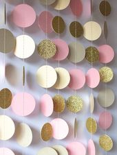 Garland in Cream Blush and Gold, Double-Sided, Bridal Shower, Baby Shower, Birthday Decor, Pink Gold