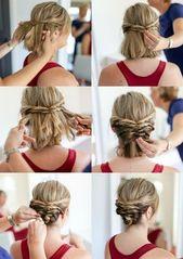 Hochsteckfrisuren mit Anleitung für kurzes Haar   – Frisuren, Zöpfe, geflochtene Haare • Gruppenboard