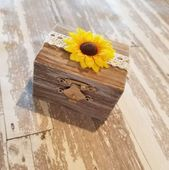 DELAYED Rustic Stained Whitewashed Antiqued Painted Ring Bearer Box Burlap Lined Wedding Engagement   – Products