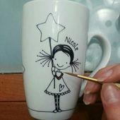 Mädchen mit Sternen, Hand bemalt Porzellan Kaffee Becher Teetasse, personalisierte Krug, witzige Tassen, Cute Tassen, Custom Design, Geschenk für Kinder, niedliche Mädchen