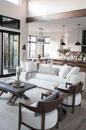 modern neutral living room design, kitchen design, and modern dining room design