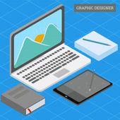 Isometric graphic designer workdesk concept | Premium Vector #Freepik #vector #background #business #technology