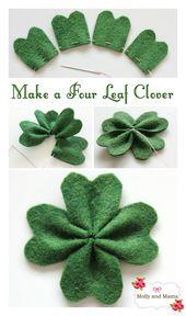 Machen Sie einen Kleeblatt für St. Patrick's Day. Ein einfaches DIY-Filz