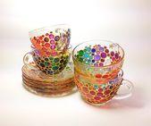 Rainbow bubbles cups & saucers set of 4 cups with 4 saucers Suncatcher glassware… – Fun stuff I LOVE!!