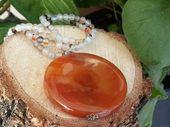 Items similar to Women's Carnelian Gemstone Necklace, Positive Energy, Gemstone Necklace, Handmade Carnelian Gemstone Pendant, Womens Gift, Express Shipping on Etsy