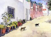 Calle del pueblo con gatos en Hortichuelas por Margaret Merry