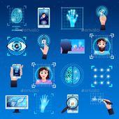 Identification Technologies Icons Set Identification technologies symbols icons set with touch screen fingerprint reco #Technologies, #Identification,…