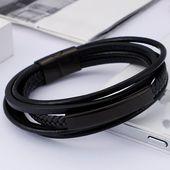 Vintage braided leather bracelet male black stainless steel mens bracelets bangl…   – Products