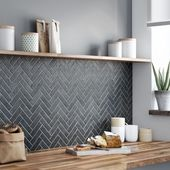 Photo of Kitchen back wall, wood and gray, tiles in herringbone, Schieferlool, gray tones, of course, open shelves