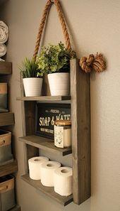 Farmhouse Furniture Bathroom Shelf Organizer, Ladder Storage Shelf, Modern Wood and Rope …