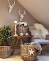 White stags head…toasted beige wall…wicker baskets..sheepskins…#hygge #sca
