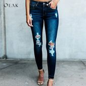 Excessive Waist Stretch Skinny Ripped Denim Denims Pant NA01