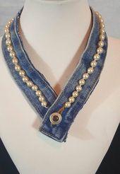 Repurposed Denim und Perlenkette  Repurposed denim and pearl necklace   Repurpos…