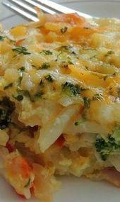 Kartoffel, Brokkoli & Pfeffer Jack Egg Auflauf