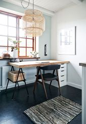 black painted floor, home workplace, cork table, mid century chair