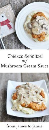 Chicken Schnitzel with Mushroom Cream Sauce