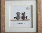 Pebble Art gerahmtes Bild – Katzen – Purrfect