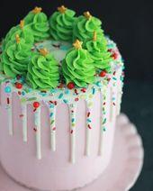 Pastel de crema de mantequilla de árbol de Navidad en colores pastel   – Kuchen streusel