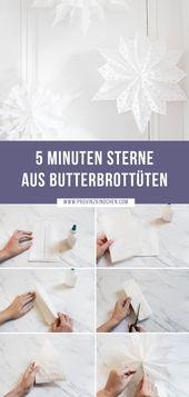 So machst du in 5 Minuten weihnachtliche Sterne aus Butterbrottüten