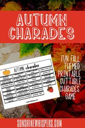 Autumn Charades Game FREE Printable  – Fall Crafts and Activities