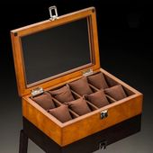 Brown Beech Wood Watch Display Box Organizer with 5, 8, 10 and 12 Slots