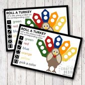 Printable Roll a Turkey Game – Free Thanksgiving Game for Kids!