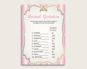 Royal Princess Animal Pregnancy Gestation Game, Pink Gold Baby Shower Girl Printable Activities, Instant Download, Queen Heiress rp002