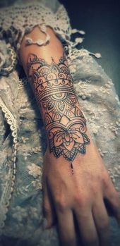 Mandala Outer Forearm Tattoo Ideas for Women – Black Henna Floral Flower Lotus A …