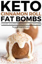 ¡Bombas de grasa Keto Cinnamon Rolls que son súper fáciles y rápidas de hacer! Keto Fat Bo …