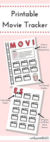 Film Tracker Bullet Journal | 5-Star Ranking Movie Overview BuJo Printable Inserts | Motion pictures Watched | Movie Log | Film Wishlist | Film Night time