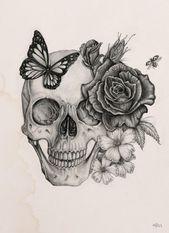 Rose & Skull by Boudos Simon, via Behance #skull_tattoo
