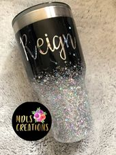 Black and Silver Holographic Ombre Glitter Tumber – Products