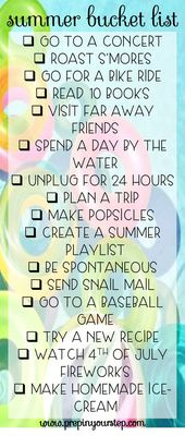 Bereiten Sie sich in Ihrem Schritt vor: Summer Bucket List – Bucket listttt