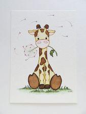 Peinture à l'aquarelle, girafe mignonne, décor de crèche, peinture originale, peinture de girafe, art pour enfants, peinture de girafe de bébé, faire un vœu – Willy Haas   – Aquarell Beginner