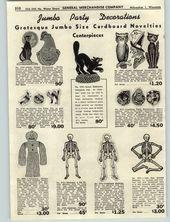 Details about 1947 PAPER AD 8 PG Halloween Masks Black Cat Pumpkin Lantern Skeleton Party Hats