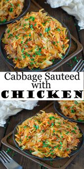 Cabbage Sauteed with Chicken #Cabbage #Sauteed with #Chicken #food #dinner