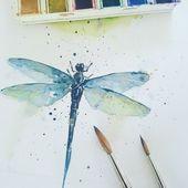 Nur eine kleine Libelle in Aquarell, um nach dem Schärfen wieder zu malen … – Aquarell