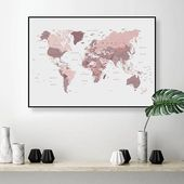 World map download blush pink and cranberry Downloadable print large A0 wall map Digital print pink map dorm study wall decor Pink bedroom