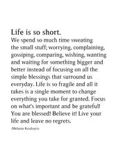 Life Is So Brief. We Spend So A lot Time Sweating The Small Stuff