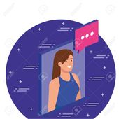 Woman with bubble design, Digital technology communication social media internet and web theme Vector illustration , #Aff, #Digital, #technology, #com…