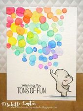 Baby Cards More rainbow goodness today, with an elephant blowing bubbles :) I scribbled my ...