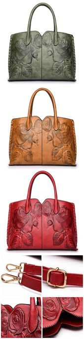 Women Retro PU Leather Handbag Embossed Peony Chinese Style Large Capacity Crossbody Bag#bag