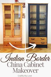 Simple China Cupboard Makeover with Stencil & Paint